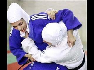 Iranian Judo Girls wearing Hijab in competition
