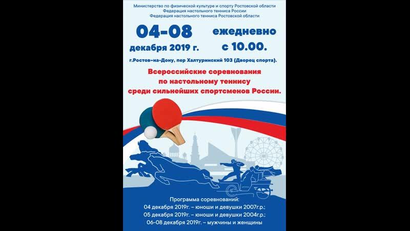 1 стол.Всероссийские соревнования по настольному теннису среди сильнейших спортсменов России