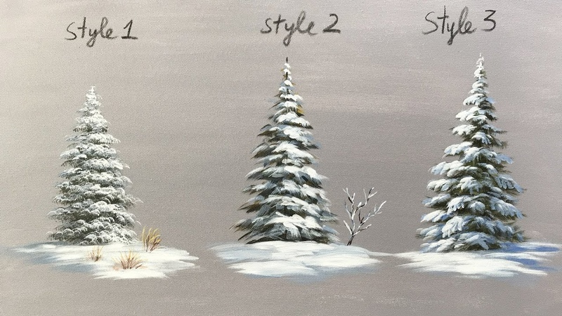 Winter serie 4 : How to Paint Snowy Acrylic Pine Trees