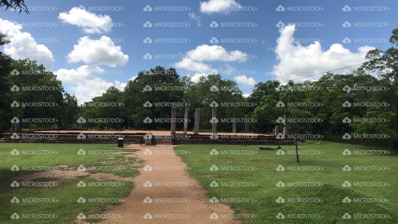 Anuradhapura, Sri Lanka, the site of an ancient Palace with parkland and path
