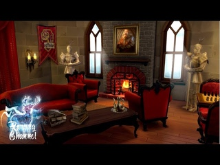 Harry Potter Inspired ASMR - Gryffindor Common Room - Ambience and Animation (rain, fire place) 🦉