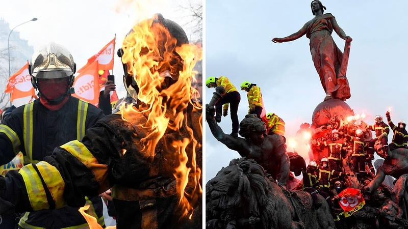 French riot police clash with protesting firefighters in Paris
