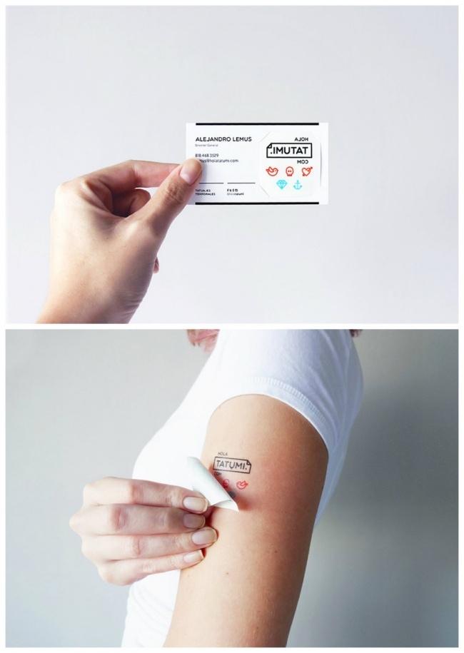 Временная татуировка и визитка тату-салона по совместительству