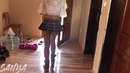 Hanging Cloths Upskirt in Pantyhose and a Mini Skirt | The Pantyhose Queen 171215