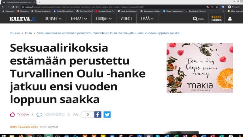 Seksuaalirikoksia estämään perustettu Turvallinen Oulu hanke jatkuu ensi vuoden loppuun saakka