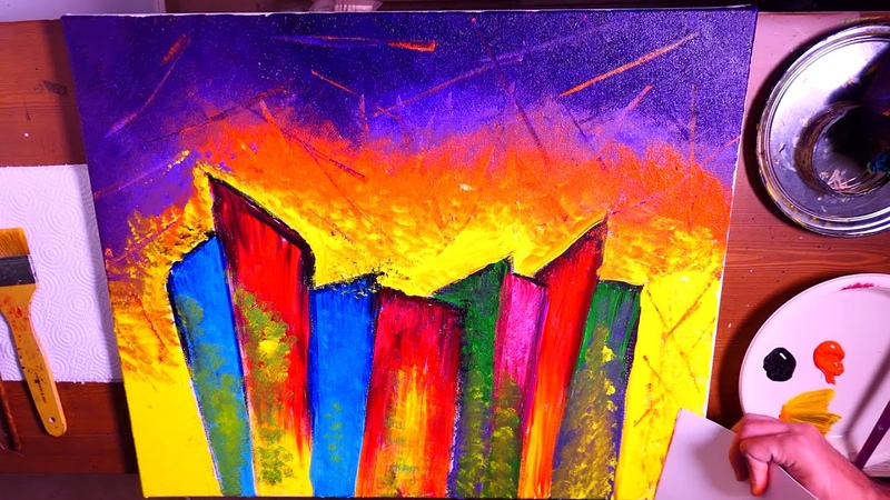 Colorful City Abstract Painting | Beginners | Acrylics | Creating Textured Skies With Random Tools