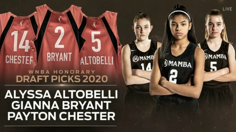 WNBA Selects Alyssa Altobelli Gianna Bryant and Payton Chester As Honorary Draftees