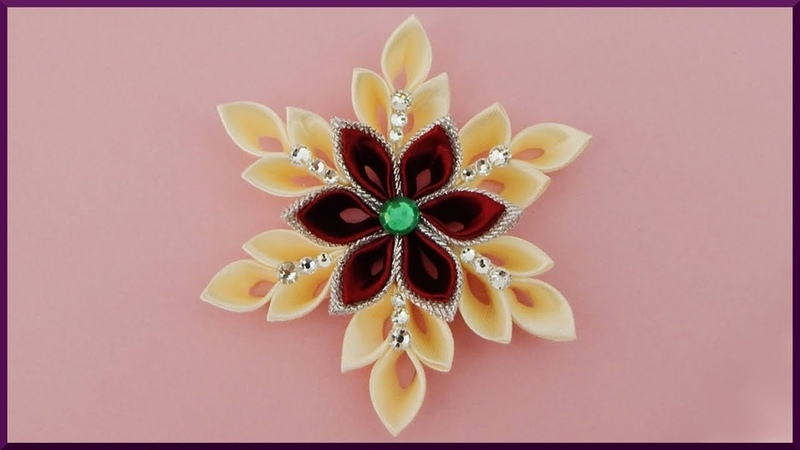 DIY Kanzashi xmas Stoff Schneeflocke Weihnachten Ribbon chirstmas snowflake