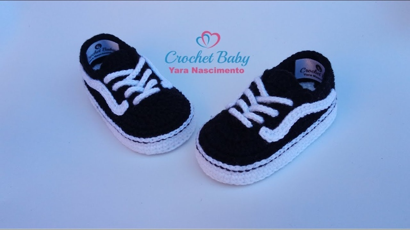 Tênis VANS OLD SKOOL de Crochê - Tamanho 09 cm - Crochet Baby Yara Nascimento