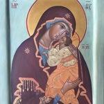 Аналойная рукописная икона: Божия Матерь, Умиление