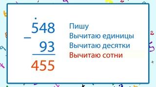 Алгоритм письменного вычитания трёхзначных чисел
