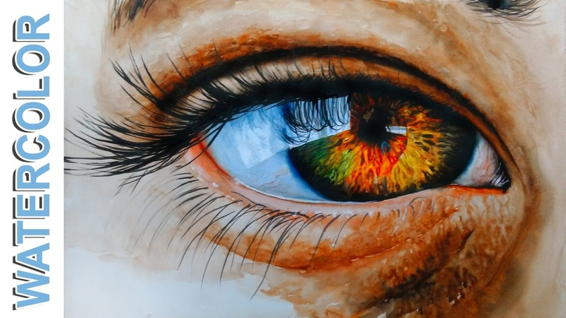 How to Paint a Realistic Eye Watercolor painting for beginners tutorial by Nihar Debnath