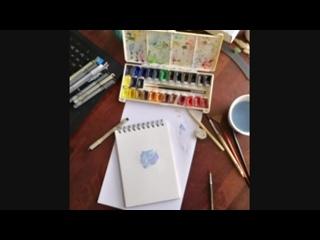 Watercolor space bear.