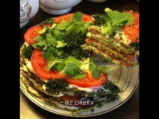 Кабачковый тортик (ингредиенты указаны в описании видео)