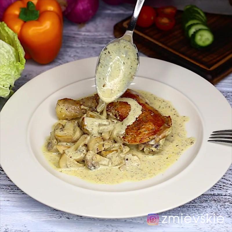 Курица с грибами в горчичном соусе