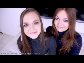Joey  Sami White - Amateur Allure Welcomes TWIN SISTERS Joey and Sami White to Give POV Blowjob and Swallow Cum - Threesome Sex