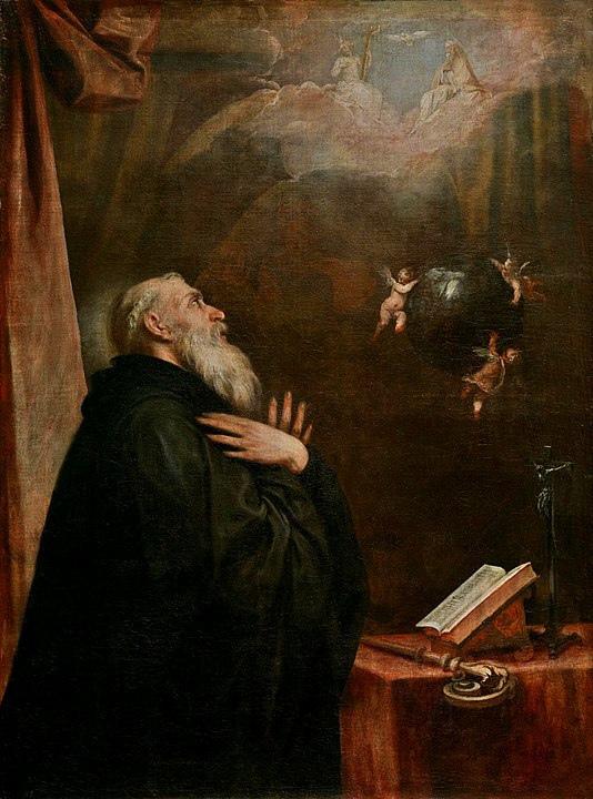 Источники: https://commons.wikimedia.org/wiki/Category:14th-century_paintings_of_Benedict_of_Nursia#/media/File:Vision_of_St._Benedict.jpg https://commons.wikimedia.org/wiki/Category:17th-century_paintings_of_Benedict_of_Nursia#/media/File:Visión_de_San_Benito_del_globo_y_los_tres_ángeles_(Museo_del_Prado).jpg