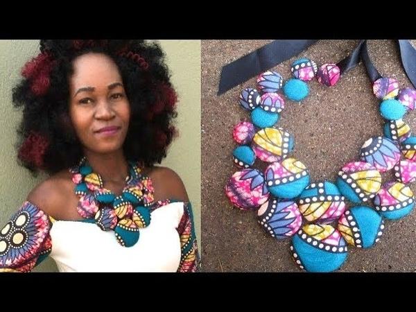 DIY Ankara Cover Button Necklace Part 2 African print