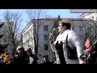 """Митинг в Луганске: """"Нас хотят вакцинировать, мужиков всех уничтожить, а женщин на полевые работы!"""" [6 апр. 2014г]"""