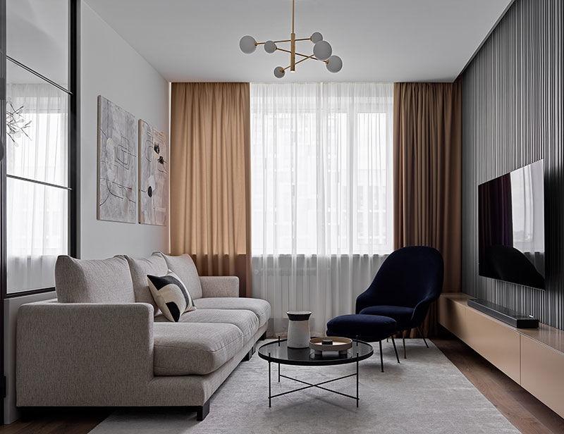 Современная квартира в мягких тонах для молодой пары в Москве (75 кв.