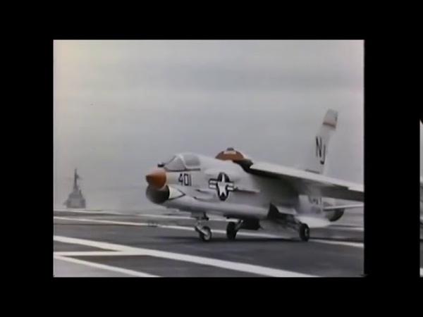 US Navy F 8 Crusader in action
