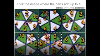 Pick the image where the darts add up to 18